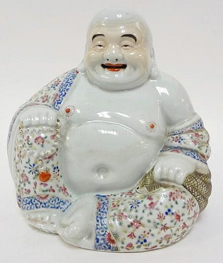 HAND PAINTED, CHARACTER SIGNED SMILING BUDDHA; 10