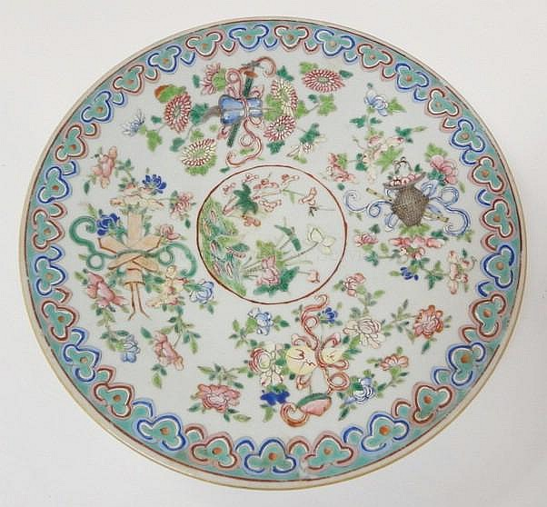 HAND PAINTED ORIENTAL CHARGER W/FRUIT & FLOWERS;