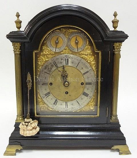 ELLICOTT, LONDON BLACK LACQUER ARCH TOP CLOCK;
