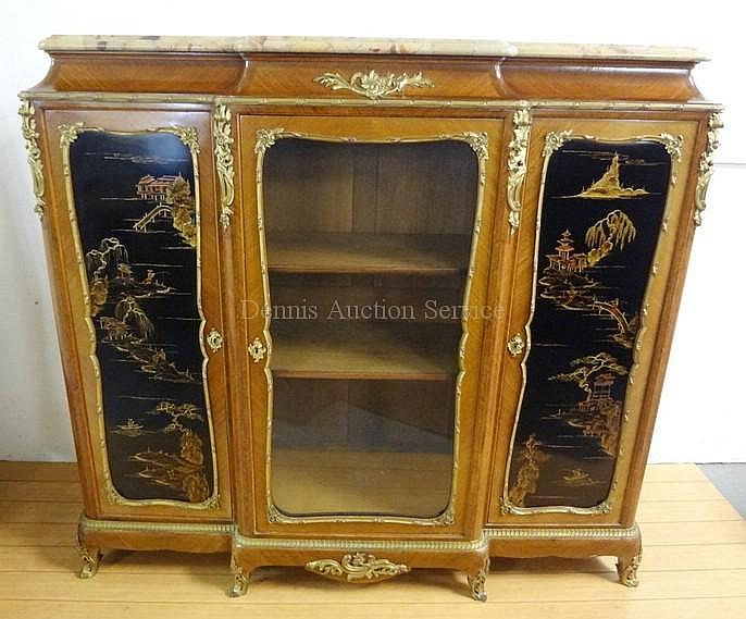 BRONZE MTD, CHINOISSERIE DECORATED FRENCH VITRINE