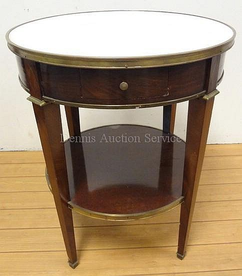 FRENCH MAHOGANY 2 TIER MARBLE TOP TABLE