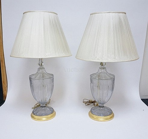 PR OF ENGRAVED COVERED JARS MOUNTED AS LAMPS;