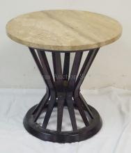 DUNBAR,  EDWARD WORMLEY SMALL ROUND TABLE. WALNUT FINISH ASH W/ TRAVERTINE TOP. SOLD BY W. AND J. SLOANE, NEW YORK.. 20 1/4 IN H, 21 IN DIA.