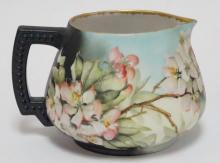 LIMOGES PORCELAIN CIDER PITCHER HAND PAINTED FLOWERS & BEES. 5 1/4 IN TALL. MARKED J.P. & L. FRANCE.