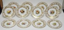 SET OF 12 COPELAND SPODE SERVICE PLATES. ARTIST SIGNED M. EDGE. 6 DESIGNS OF POLYCHROME & PARTIALLY HAND PAINTED FRUIT CENTER MEDALLIONS W/ GOLD FLORAL AND FRUIT BORDERS . 10 1/2 IN