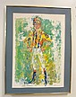 FRAMED LEROY NEIMAN PRINT OF A JOCKEY; PENCIL SIGNED; NO GLASS; 20 IN X 28 IN