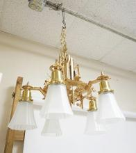 `ART DECO STYLE CHANDELIER W/ 5 FROSTED GLASS SHADES. APP 17 IN H