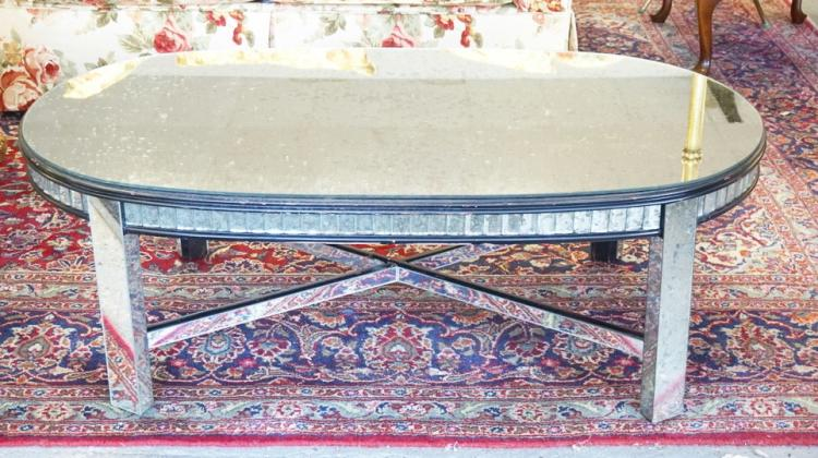 Mirror covered coffee table 48 x 26 inch top 16 by for Coffee tables 16 inches high