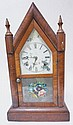 GILBERT STEEPLE CLOCK W/REVERSE PAINTED FLORAL