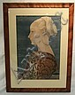 MEZZOTINT PORTRAIT OF A EUROPEAN WOMAN, FRAMED &