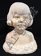 MARBLE BUST OF CLIFF ROBERTSON'S DAUGHTER HEATHER SIGNED SANGUINO; 15 IN H