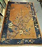 7 FT 9 IN X 6 FT IN CHINESE RUG; BROWN W/NAVY BLUE BAND