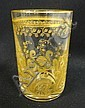 SIGNED ST. LOUIS CRYSTAL GOLD ENCRUSTED & ETCHED TUMBLER; 4 IN H