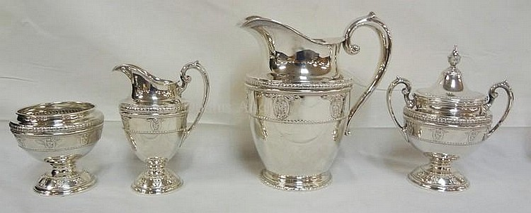 WALLACE *ROSEPOINT* STERLING SILVER 4 PC TEA SET;