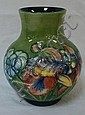MOORCROFT IRIS VASE; MARKED MOORCROFT, MADE IN
