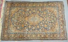 FINE ANTIQUE PERSIAN THROW. 4 FT 3 IN X 6 FT 9 IN. MATCHING ALLOVER DESIGN W/ INTRICATE BORDER. EXCELLENT CONDITION.