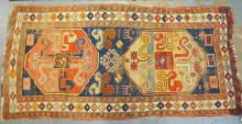 RARE 19TH C. CAUCASIAN RUNNER W/ GREAT DESIGN AND COLOR. 3 FT 8 IN X 7 FT 8 IN