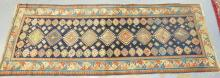 RARE 19TH C. CAUCASIAN RUNNER W/ EXCEPTIONAL BORDER AND CENTER DESIGN. 3 FT 3 IN X 9 FT