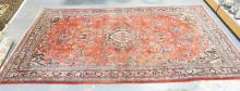 CA 1930'S RED ORIENTAL RUG. 9 FT X 17 FT 3 IN. EXCELLENT CONDITION