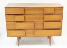 GIO PONTI 4 DRAWER WALNUT CHEST WITH SINGER & SONS LABEL. 47 IN WIDE, 36 1/2 IN TALL, 19 3/4 IN DEEP.