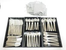 GEORG JENSEN 71 PC STAINLESS STEEL FLATWARE SET- SER. FOR 12 LESS 1 DINNER FORK. W/ FELT ENVELOPES