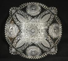 FINE DEEP BRILLIANT CUT GLASS LARGE SQUARE BOWL. 10 3/4 IN
