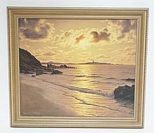 FRAMED O/C SUNSET SEASCAPE BY ROGER DE LA CORBIERE (1893-1974). 22 1/4 IN X 18 1/4 IN