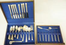 63 PIECES (65.52 TROY OZ) OF GORHAM *GREENBRIER* STERLING SILVER FLATWARE. (STANDARD KNIFE HANDLES COUNTED AT .5 TROY OZ, SMALL HANDLES COUNTED AT 1/3 TROY OZ)