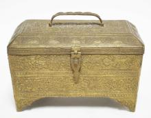 ORNATELY TOOLED BRONZE BOX WITH BRACKET FEET AND A HINGED LID. 8 1/8 X 5 1/4 AND 6 INCHES HIGH.