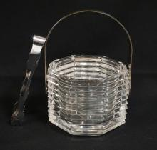 *KRISTALL ITALIA* CUT CRYSTAL ICE BUCKET WITH A SILVERPLATED HANDLE AND TONGS. 5 1/2 INCHES WIDE.