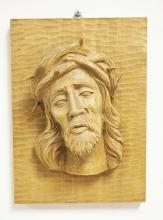 GERMAN CARVED WOOD PLAQUE OF JESUS IN RELIEF. 7 1/2 X 10 1/2 INCHES.