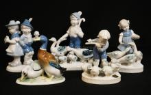 5 GERMAN PORCELAIN FIGURES. 4 ARE GEROLD AND ONE IS E&R. TALLEST IS 7 1/4 INCHES.