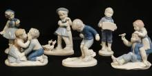 6 GEROLD PORCELAIN FIGURES. VARIOUS YOUNG BOYS & GIRLS, SOME WITH ANIMALS. TALLEST IS 6 INCHES.