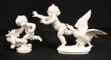 2 HUTSCHENREUTHER PORCELAIN FIGURES. EACH OF A PUTTO WITH A GOOSE. TALLEST IS 5 7/8 INCHES.