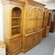 4 PIECES OF *HOOKER* FURNITURE. 3 PC ENTERTAINMENT CABINET WITH POCKET DOORS AND AN ADDITIONAL SIDE CABINET.