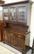 PINE 2 PIECE HUTCH WITH GLASS DOORS. 57 3/4 INCHES WIDE. 78 1/4 INCHES TALL.