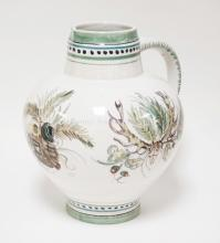LARGE HAND PAINTED CERAMIC PITCHER. GERMAN. 12 INCHES HIGH.