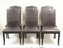 SET OF 5 MODERN CHAIRS WITH FAUX LEATHER UPHOLSTERY. 39 1/2 INCHES HIGH.