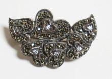 STERLING SILVER & MARCASITE PIN. A CLUSTER OF HEARTS EACH WITH A RHINESTONE CENTER. 1 1/2 INCHES.