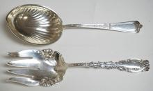 5.10 TROY OZ, 2 STERLING SILVER SERVING PIECES. LONGEST IS 8 7/8 INCHES LONG.
