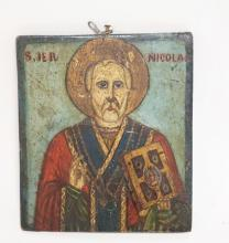 HAND PAINTED WOODEN ICON OF *NICOLAE*. 5 1/8 X 6 INCHES.