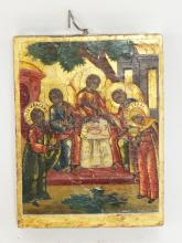 PAINTED RUSSIAN ICON WITH A GOLD BORDER. 3 5/8 X 4 3/4 INCHES.