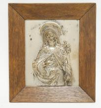 SILVER OR SILVER PLATED RUSSIAN ICON IN A OAK FRAME. 5 1/4 X 6 3/4 INCHES.