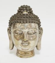 ASIAN METAL BUDDHA HEAD. 7 1/2 INCHES HIGH.