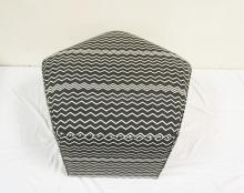PENTAGONAL OP ART UPHOLSTERED STOOL IN BLACK & WHITE.