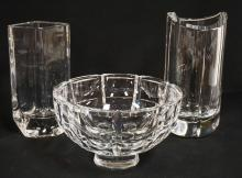 3 PIECE LOT OF CRYSTAL. 2 KOSTA BODA VASES AND AN ORREFORS BOWL. TALLEST PIECE IS 9 1/4 INCHES.