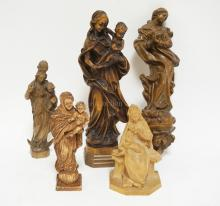 GROUP OF 5 GERMAN CARVED WOODEN RELIGIOUS FIGURES. TALLEST IS 12 INCHES.