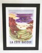 LA COTE BASQUE POSTER BY KILLAMOT. 14 1/4 X 19 1/2 INCHES.