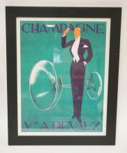 *CHAMPAGNE* FRENCH POSTER BY DRYDEN. 14 1/2 X 19 1/2 INCHES.