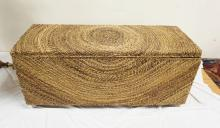 WICKER BLANKET CHEST. 47 INCHES WIDE,